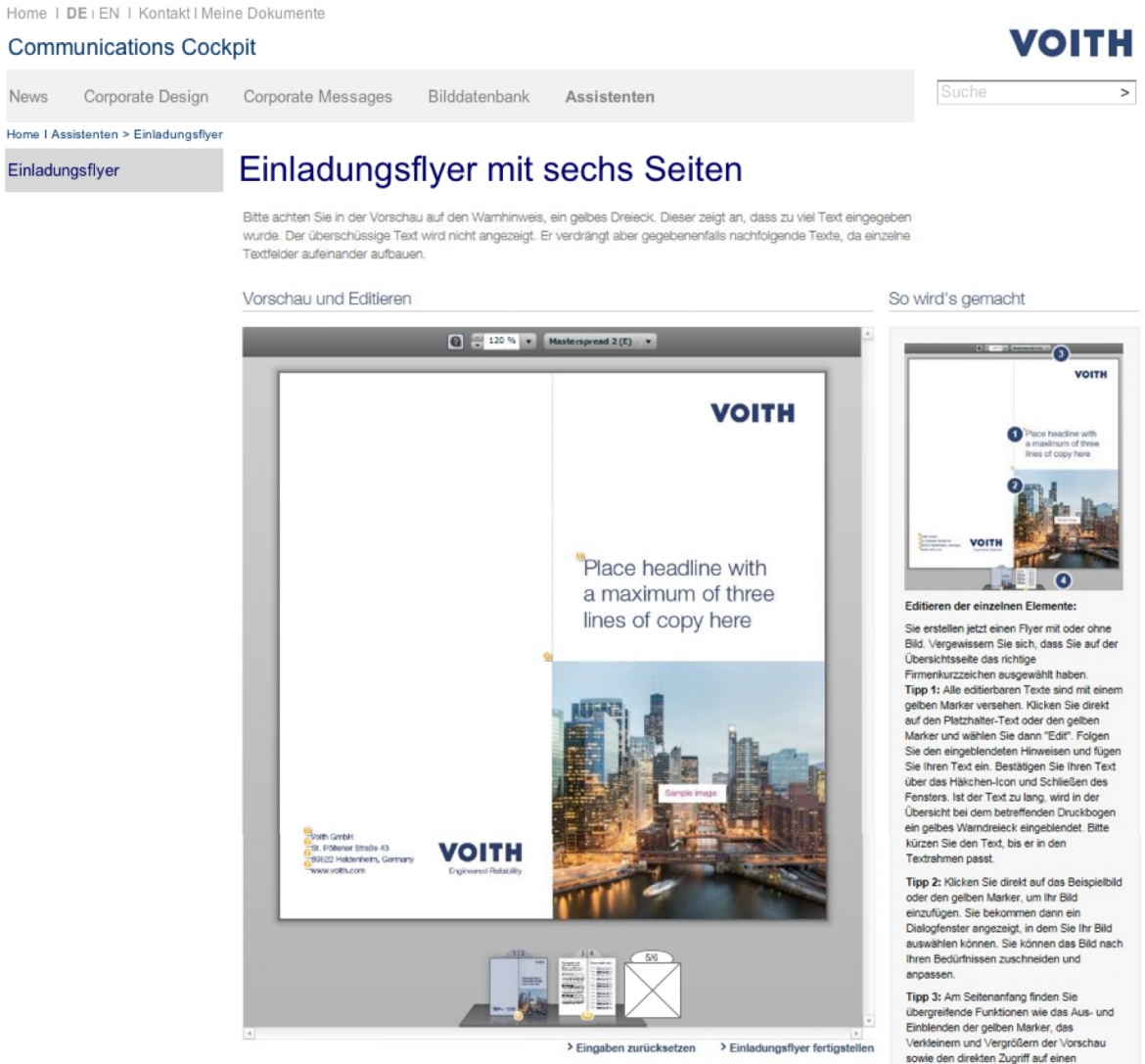 VOITH Screenshot Communication Cockpit